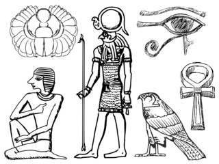 set of ancient Egyptian symbols