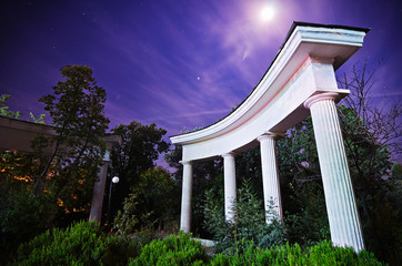 Night in the park. Trees behind the columns.