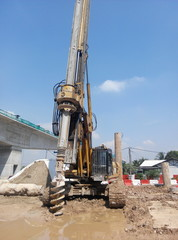 Bore piling rig at the construction site