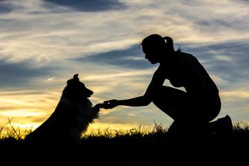 Deutschland, Frau mit Hund, Silhouetten bei Sonnenuntergang