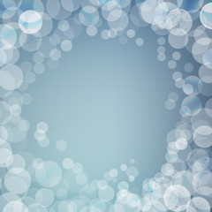 Abstract bokeh sparkles frame on blurred background