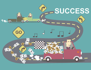 businessman in the car pick-up go to success  vector illustratio