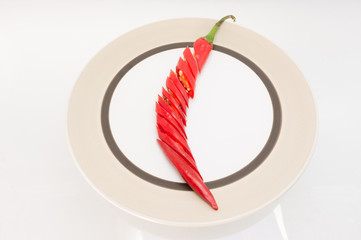 red chilli slice on the plate