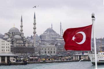 Türkei, Istanbul, Eminoenue, Hafenblick, Yeni Camii und türkische Flagge