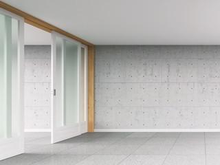 Leerer Raum mit Schiebetür und Betonwand, 3D-Rendering