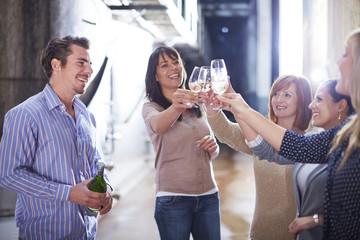 Gruppe von Personen, stoßen an mit Weingläsern
