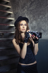 girl with vintage camera