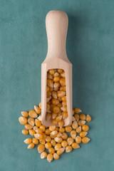 Wooden scoop with corn
