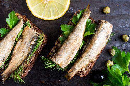 Foto op Canvas Vis Sandwich with sardines
