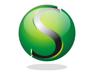 abstract 3D S sphere logo