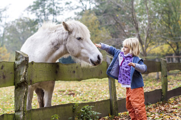 Kleines Mädchen streichelt ein Pferd