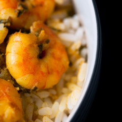 Caribbean tasty curry shrimp prawns and white rice