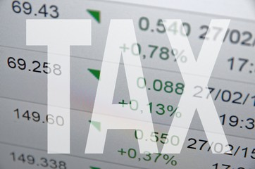 "Inscription ""Tax"" on PC screen."