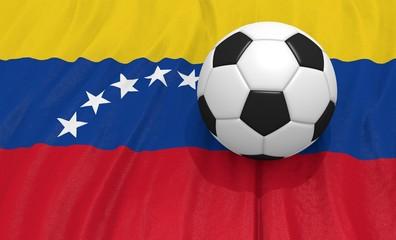 3d illustration of a soccer ball on the flag of Venezuela