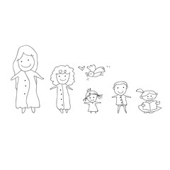 hand drawing cartoon concept happy people