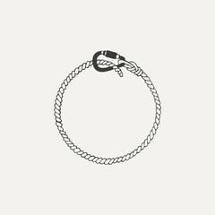 illustration of carabiner with rope. Black and white style