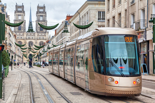 Leinwandbild Motiv Brown tram in Orleans