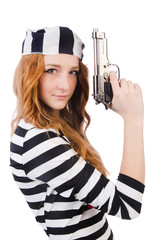 Young woman-prisoner with gun isolated on white