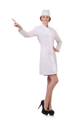 Attractive woman doctor pressing buttons  isolated on white