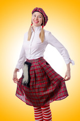Scottish traditions concept with person wearing kilt