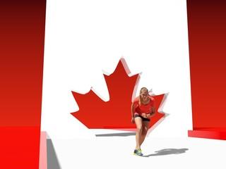 teen girl in sport wear run out from maple leaf
