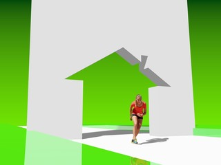 teen girl in sport wear run out from house icon