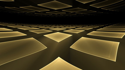Golden Cubical Perspective Stretching Off To Infinity