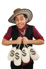 Young cowboy with money bags isolated on white