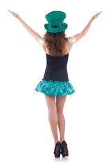 Female model in Irish costume isolated on white
