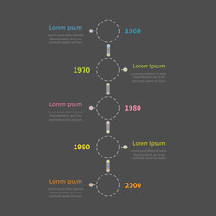 Dash line round Timeline vertical Infographic  text Dark Flat