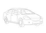 Generic vehicle line drawing illustration