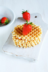 thin wafers with fresh strawberries