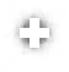 white cross with pixel shadow over white