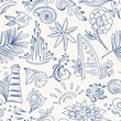 Sketch sea travel pattern - 79996190