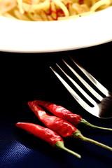 赤唐辛子とペペロンチーノ