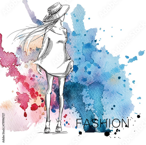 fashion sketch. Girl on a watercolor background. © kamenuka