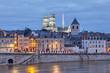 Leinwandbild Motiv Embankment of Loire and Orleans Cathedral