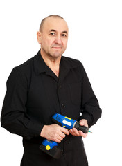 Middle aged man worker with screwdriver on a white background