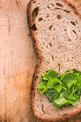 fresh rye bread and green salad