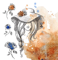 girl in a hat on a watercolor background