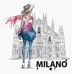 Girl on a Milano Duomo  background. fashion sketch