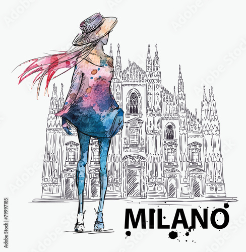 Girl on a Milano Duomo  background. fashion sketch - 79997185