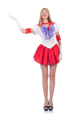 A girl in sailor moon suit isolated on white