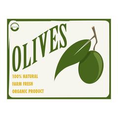 Etichetta alimentare con una grande oliva