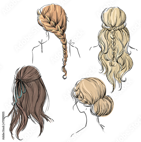 set of different hairstyles. Hand drawn. - 79998105
