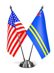 USA and Aruba - Miniature Flags.