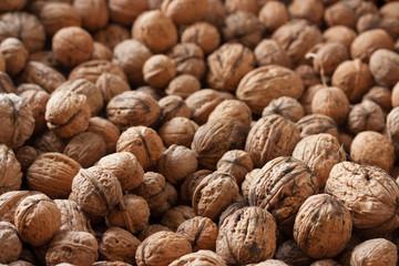 Whole wallnuts background