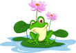 funny Green frog cartoon sitting on a leaf