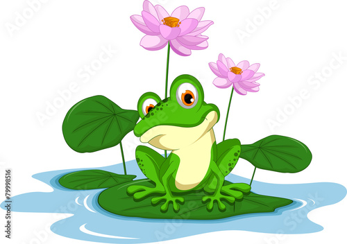 funny Green frog cartoon sitting on a leaf - 79998516
