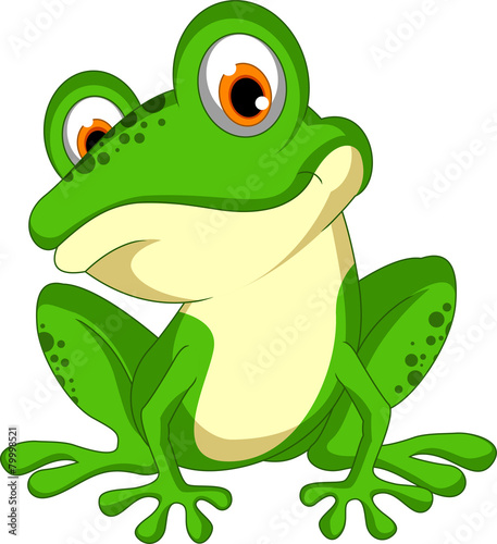 funny Green frog cartoon sitting - 79998521